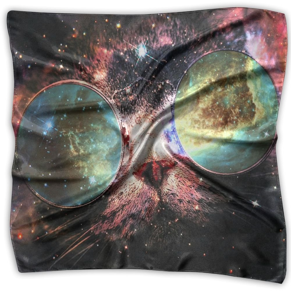 Galaxy Space Cats Drugs Glasses 100% Polyester Silk Feeling Large Square Kerchief Neck Scarf Women Headdress