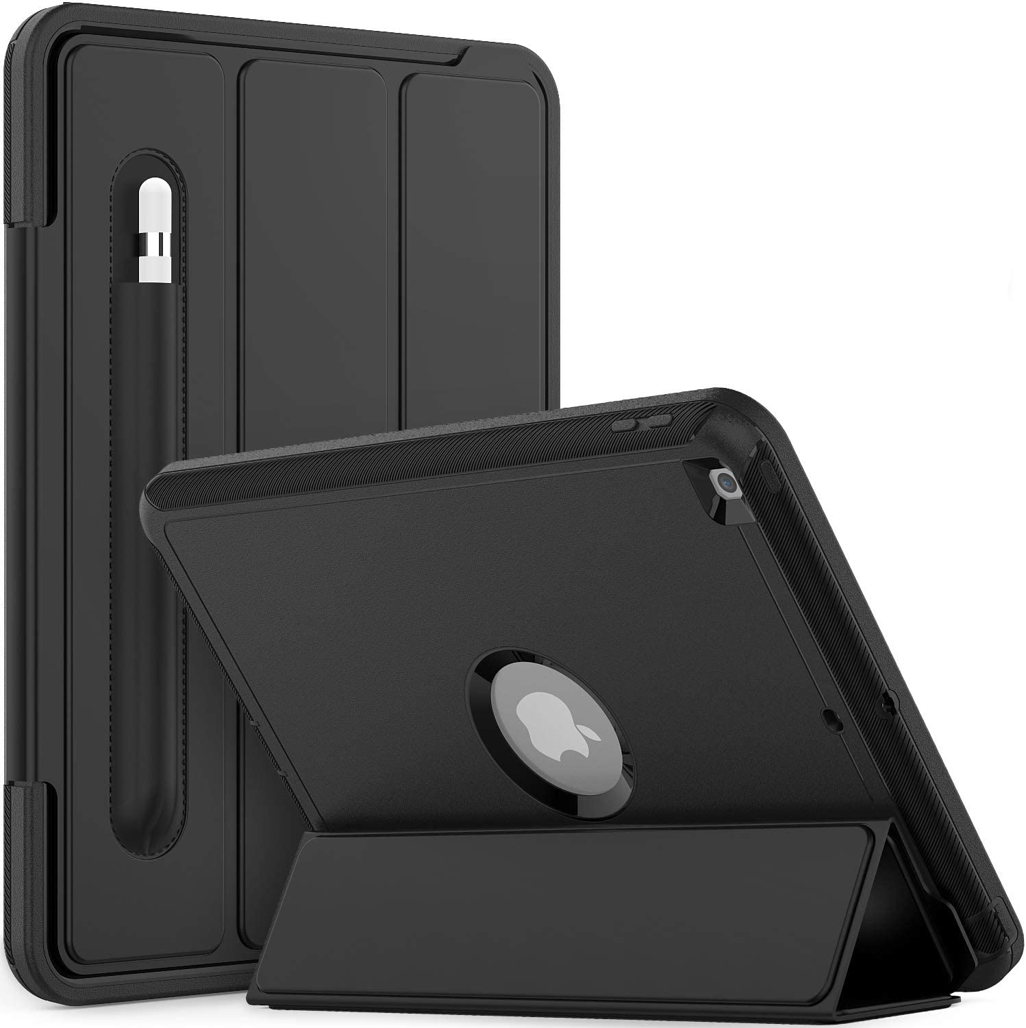Timecity iPad 8th/ 7th Generation Case 10.2 2020/2019.Auto Wake/Sleep Magnetic Smart Tablet Case with Pencil Holder Stand, Three Layer Rugged Heavy Duty Case for iPad 8th/ 7th Gen 10.2 Inch,Black