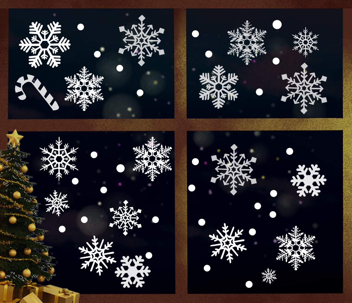 ZMunited White Snowflake Bell Stickers Window Clings Christmas Year Decorations Removable Winter Xmas Party Decal Ornaments No Gel (4 Sheets)