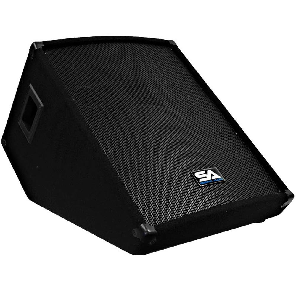 Seismic Audio - 15 Inch Floor Wedge Style Monitor-Studio, Stage, or Floor Use-PA/DJ Speakers-Bar, Band, Karaoke, Church, Drummer Use SA-15MSingle