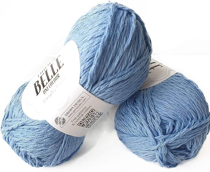 Ovillo de hilo de algodón, viscosa y lino, caída Belle, DK, peso de estambre ligero, 1.8 oz 131 yardas: Amazon.es: Juguetes y juegos