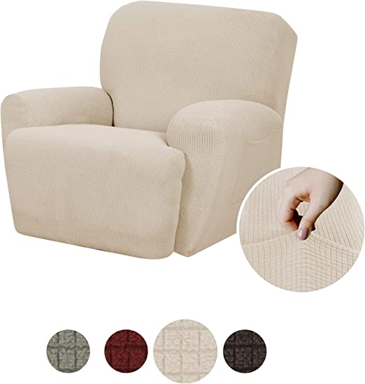 Maytex Reeves Stretch 4 Piece Recliner Arm Chair Furniture Cover Slipcover With Side Pocket Natural