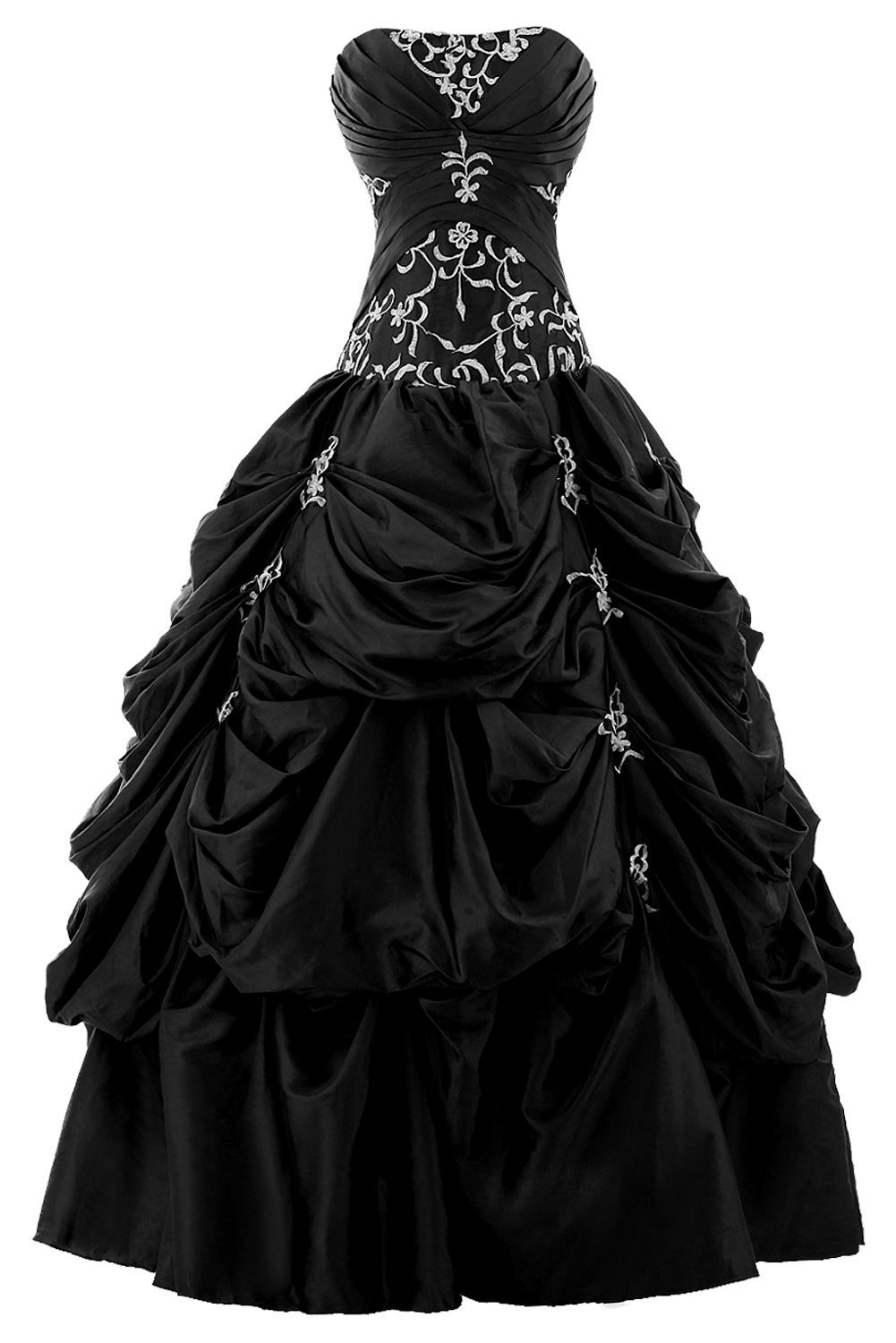Snowskite Women's Strapless Taffeta Applique Pick-up Quinceanera Dress Black 0