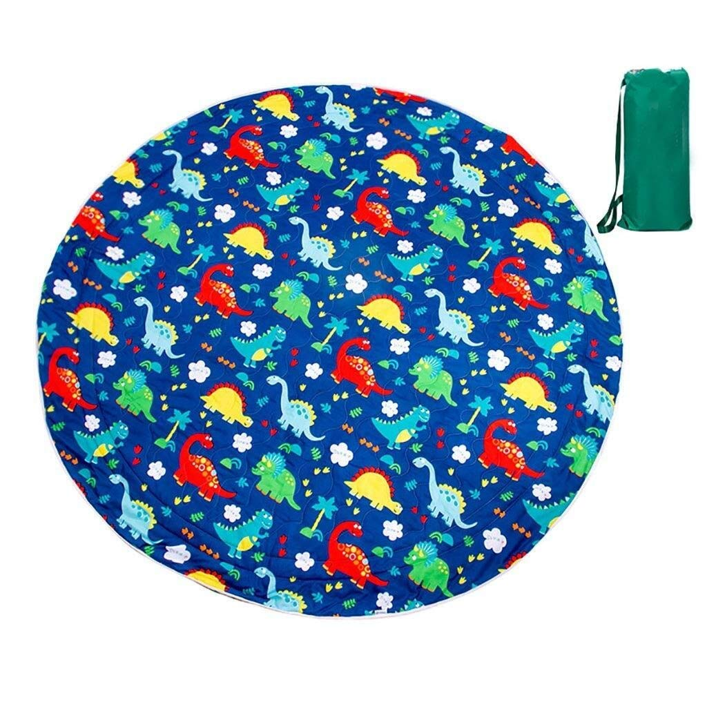 ZKKWLL Picnic Blanket Children's Picnic Blanket Round Oxford Cloth Picnic mat Travel Waterproof Outdoor Camping Tent Carpet Children Crawling mat Beach mat (Color : D) by ZKKWLL