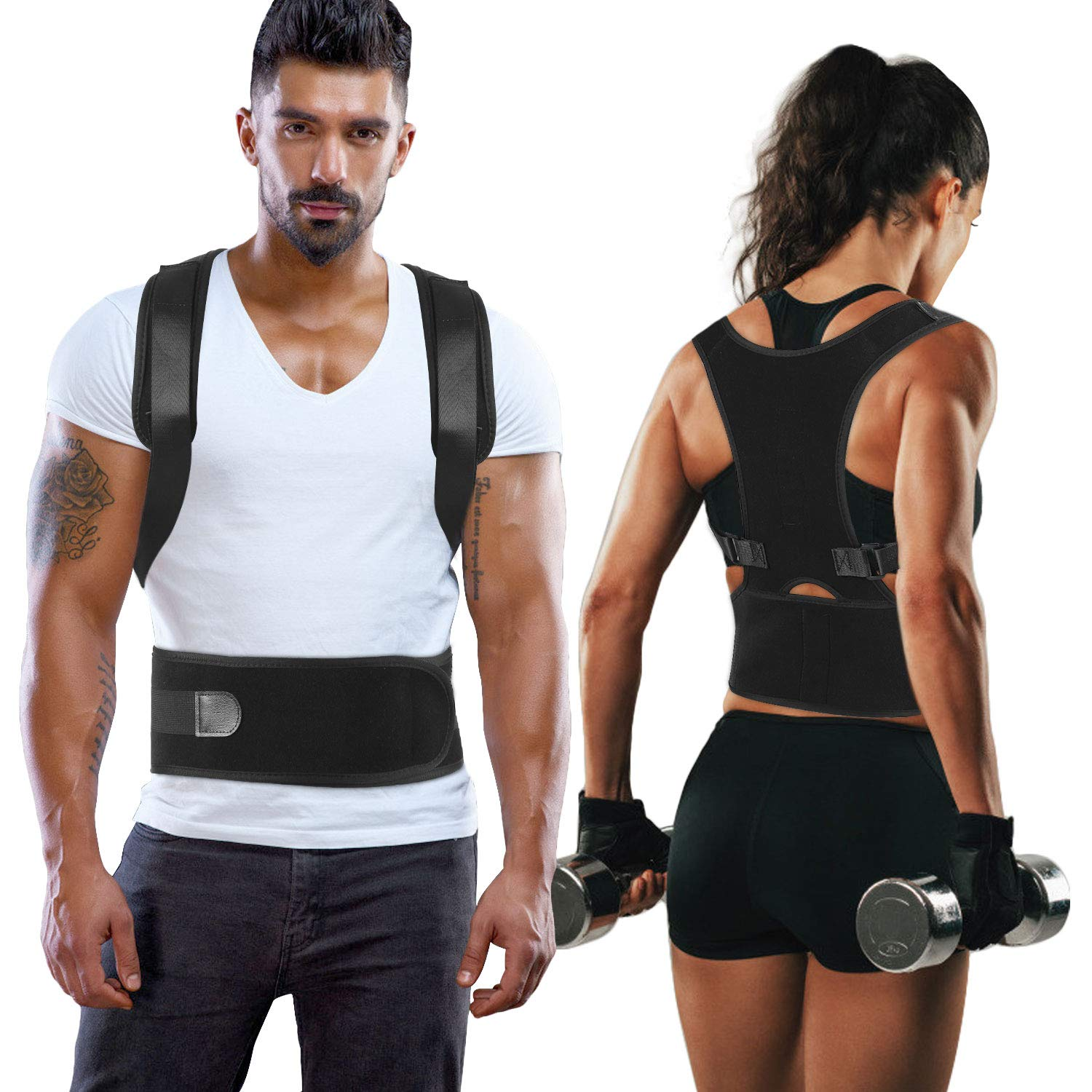 Back Brace Posture Corrector - Shoulder Support Trainer for Pain Relief   Improves Posture and Provides Lumbar Support,for Men and Women Supports Correct Posture Upper and Lower Back Lumbar