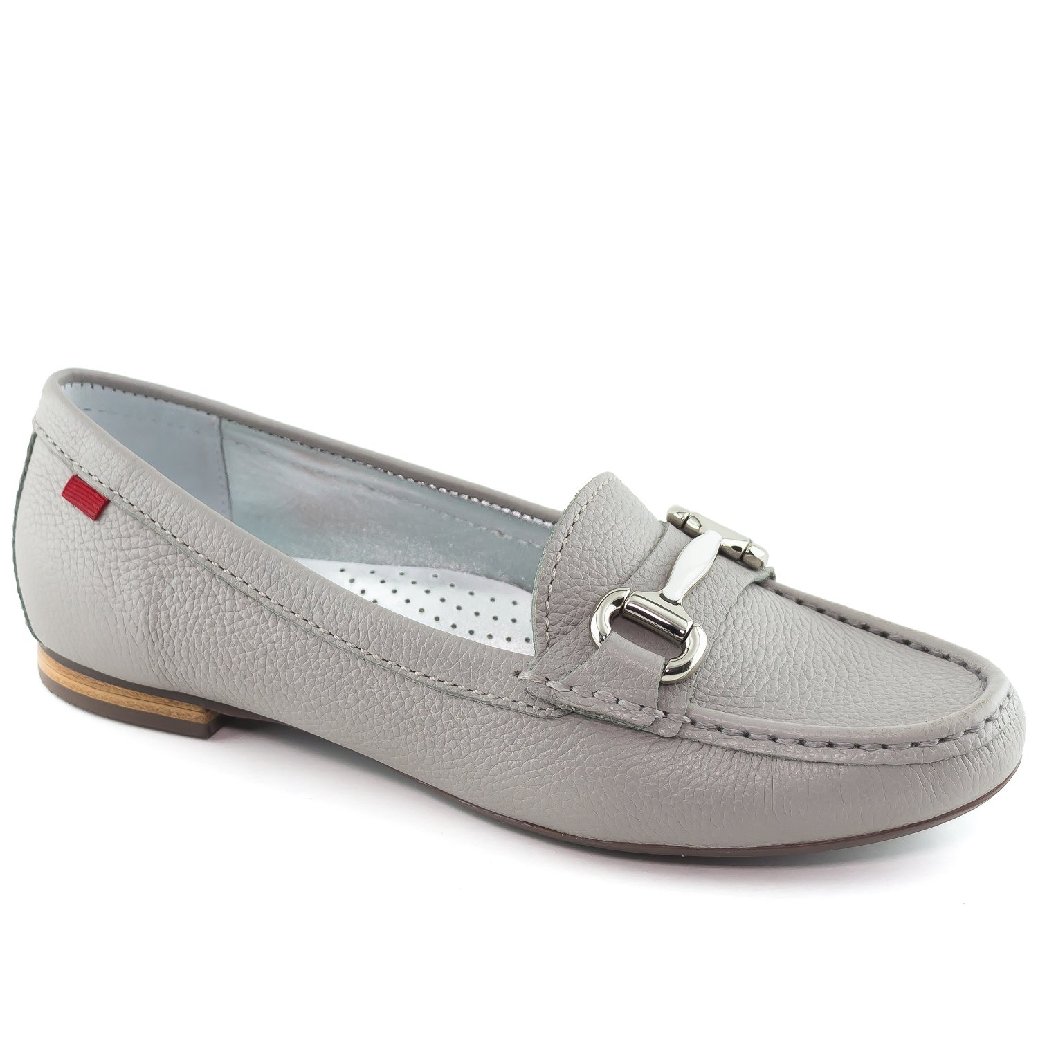 Women's Genuine Leather Made in Brazil Grand Street Ash Grainy Buckle Loafer 7
