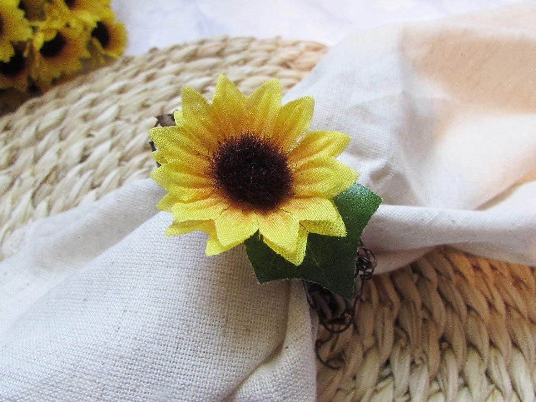 Set of 4, 6, 8, 10, 12 Kitchen Dining Table Decor Rattan Vine Wreath Fall Sunflower Burlap Napkin Ring Holders