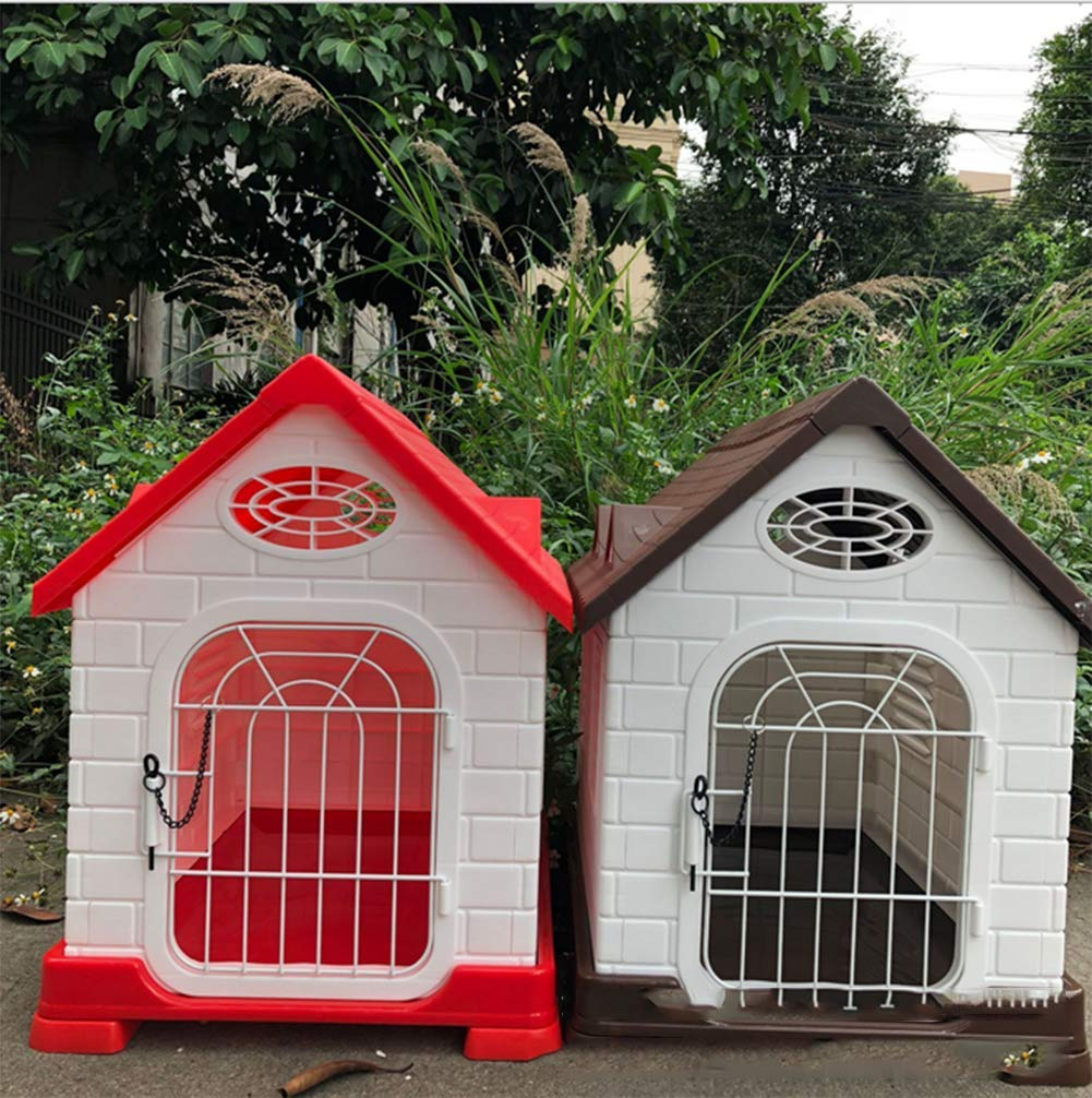 Brown Outdoor Kennel Plastic Dog House Teddy Bear Pomeranian Cat Pit Kennel Dog House Detachable Dog House