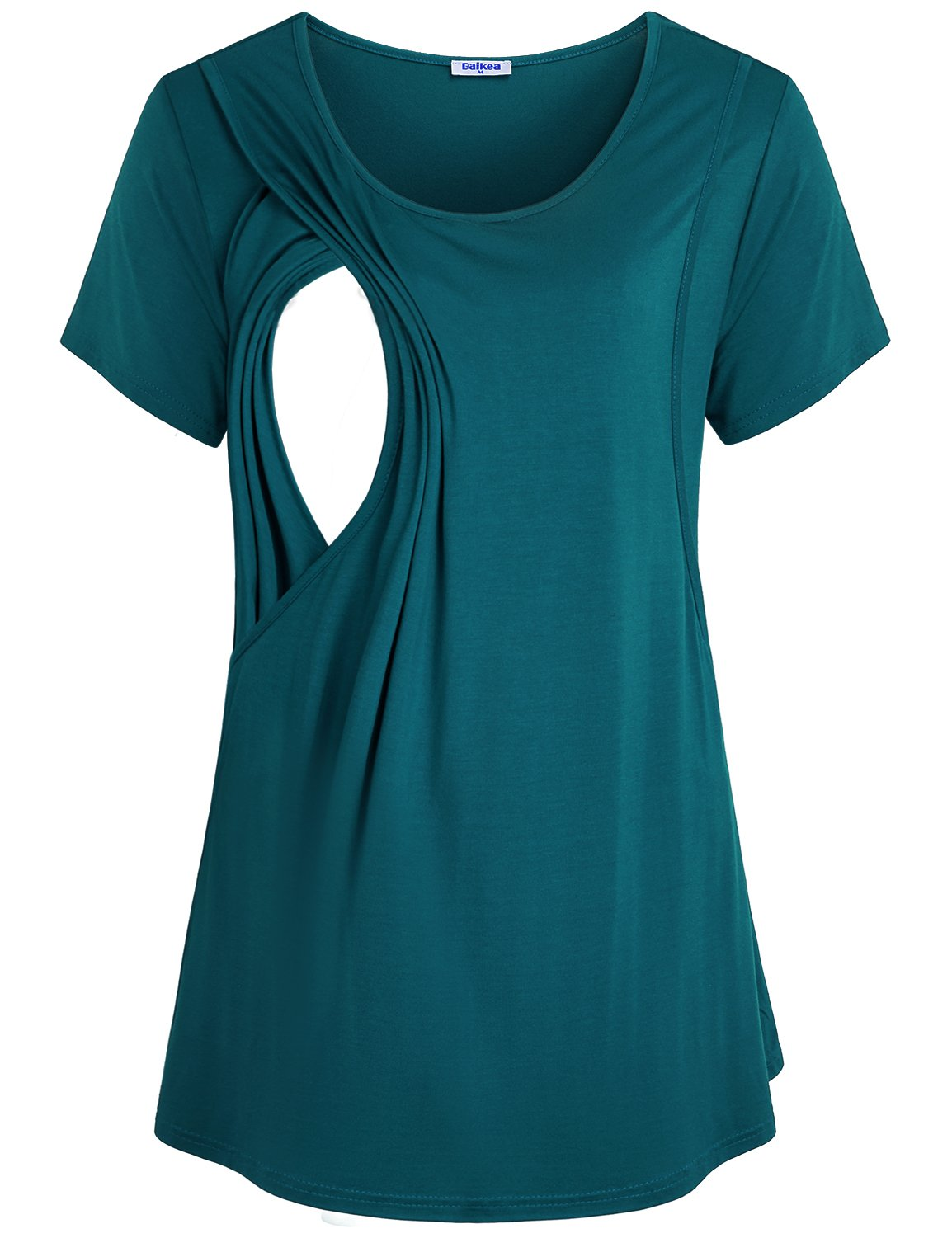 Baikea Breastfeeding Shirt, Matrnity Short Sleeve Breastfeeding Tee Shirt Moms Flattering Comfortable Stylish Side-Up Pullover Nursing Top Day Out House Wear Cyan
