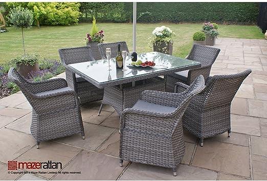 Victoria 4 rota Maze - juego de comedor - jardín cuadrado asiento juego de Patio al aire libre muebles - mesa incluido: Amazon.es: Jardín