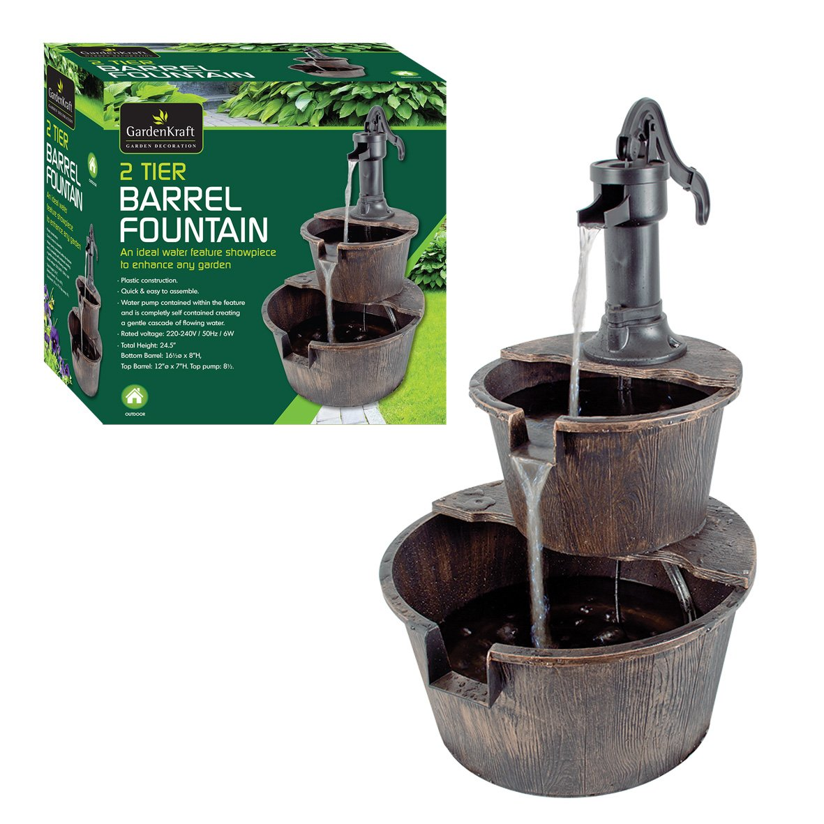 2 tier barrel water fountain with pump garden indoor amazoncouk garden u0026 outdoors