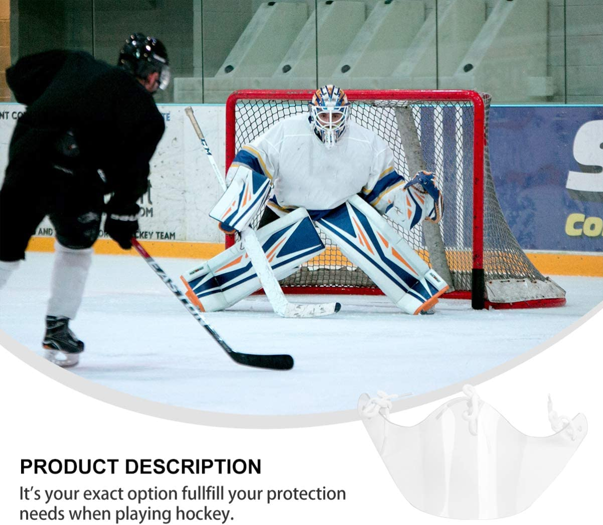 BESPORTBLE Ice Hockey Goalie Neck Guard PC Clear Goalie Throat Guard Goalkeeper Neck Protector Hockey Accessories for Youth Adults Men Women