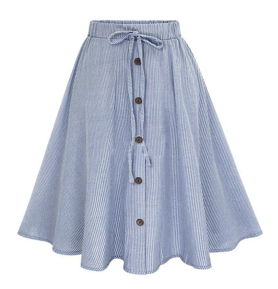 Allonly Women's A-Line High Waisted Button Front Drawstring Pleated Midi Skirt With Elastic Waist Knee Length Blue Small   Medium