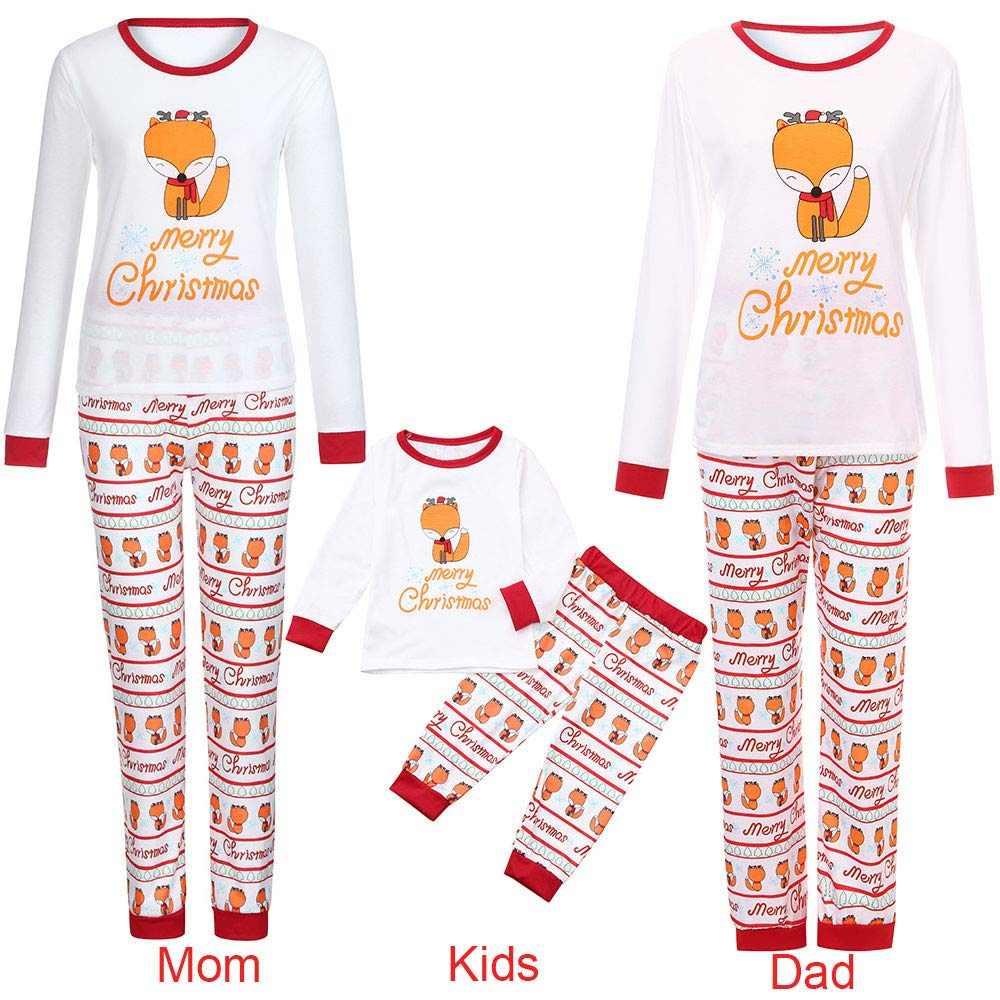 Gufenban 2PCS Christmas Children Cartoon Deer Letter Print Top+Deer Pants Family  Clothes Pajamas(Girls-Boys-White 168b75432
