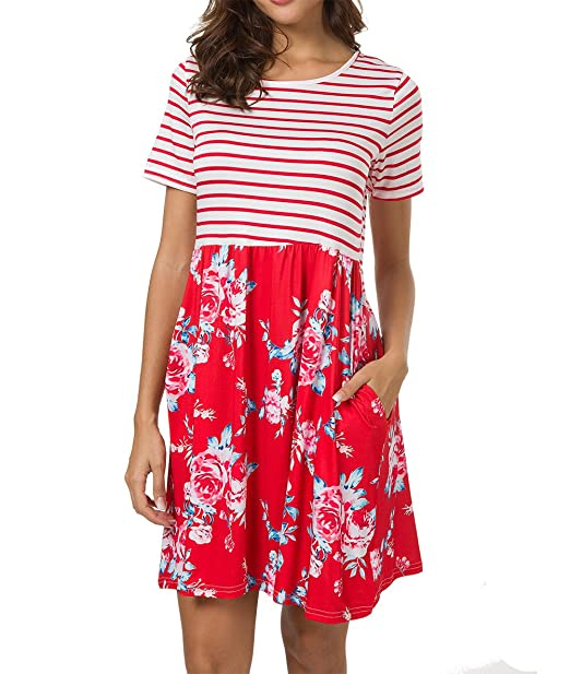 75a967d0434 Tiksawon Womens Plus Size Casual Contrast Striped Floral Short Sleeve Dress  with Pockets S Red