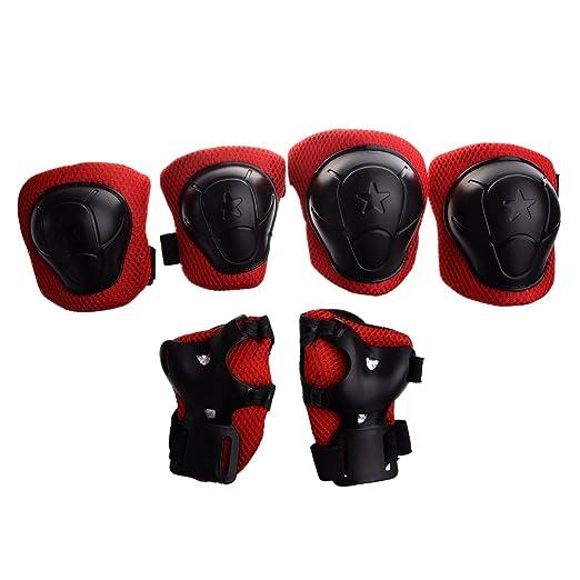 17 opinioni per SODIAL(R) Kit protezione per ginocchia gomiti polsi pattini in linea ginocchiere