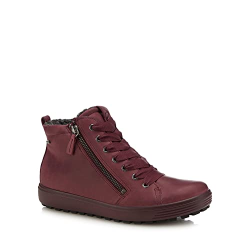 dda1aa7a5a ECCO Womens Wine Red Nubuck 'Soft 7' High Top Trainers: Amazon.co.uk ...