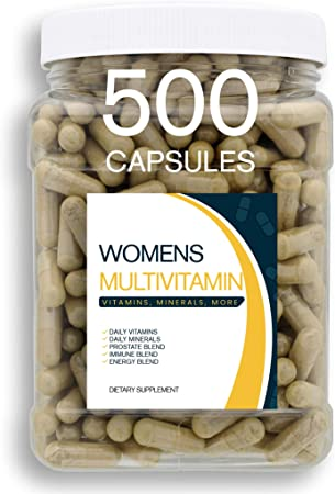 Bulk Buy Multivitamin & Women's Health Blend - 500CT Tub - Providing Daily Serving of Vitamins, Minerals, Womens Health, Antioxidants & Energy in a Clear Square Grip Jar