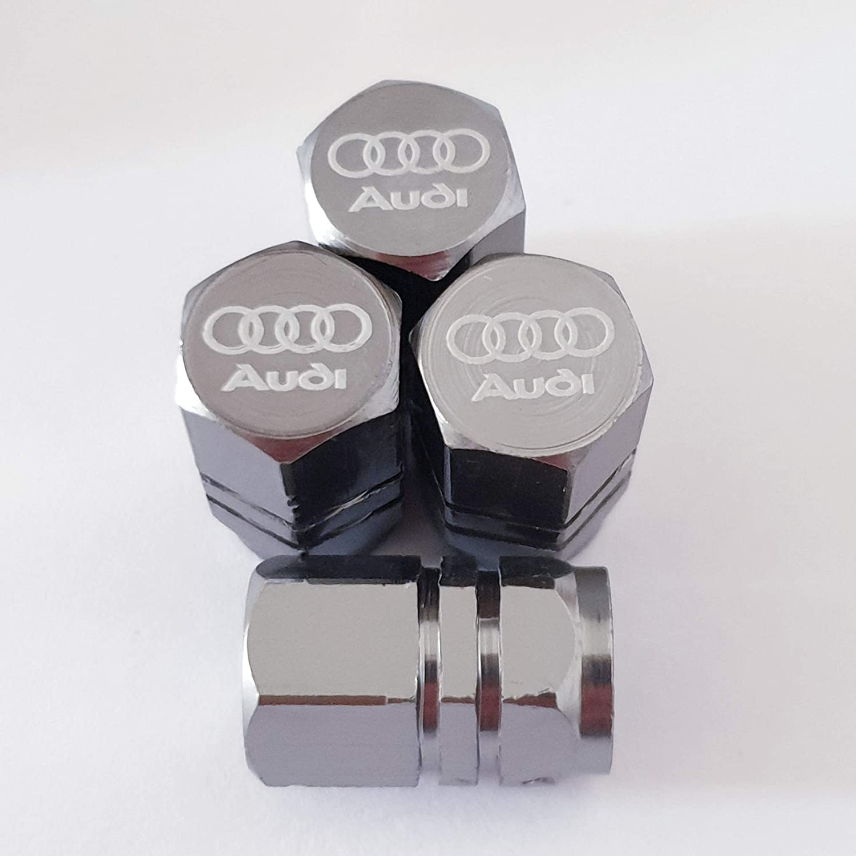 2 Speed Demons Capuchons Anti-poussi/ère de Valve grav/és au Laser Audi Gris pour Tous Les mod/èles de Voitures
