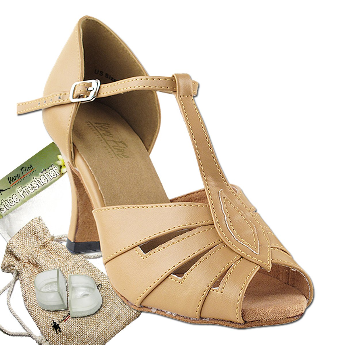 [Very Fine Dance Shoes] レディース B009B8IEO6 Beige Brown Leather 9.5 B(M) US