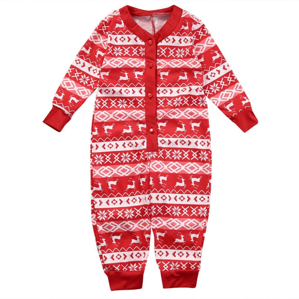 Christmas Baby Romper Infant Boy Girl Deer Pajamas Jumpsuit Family Clothes