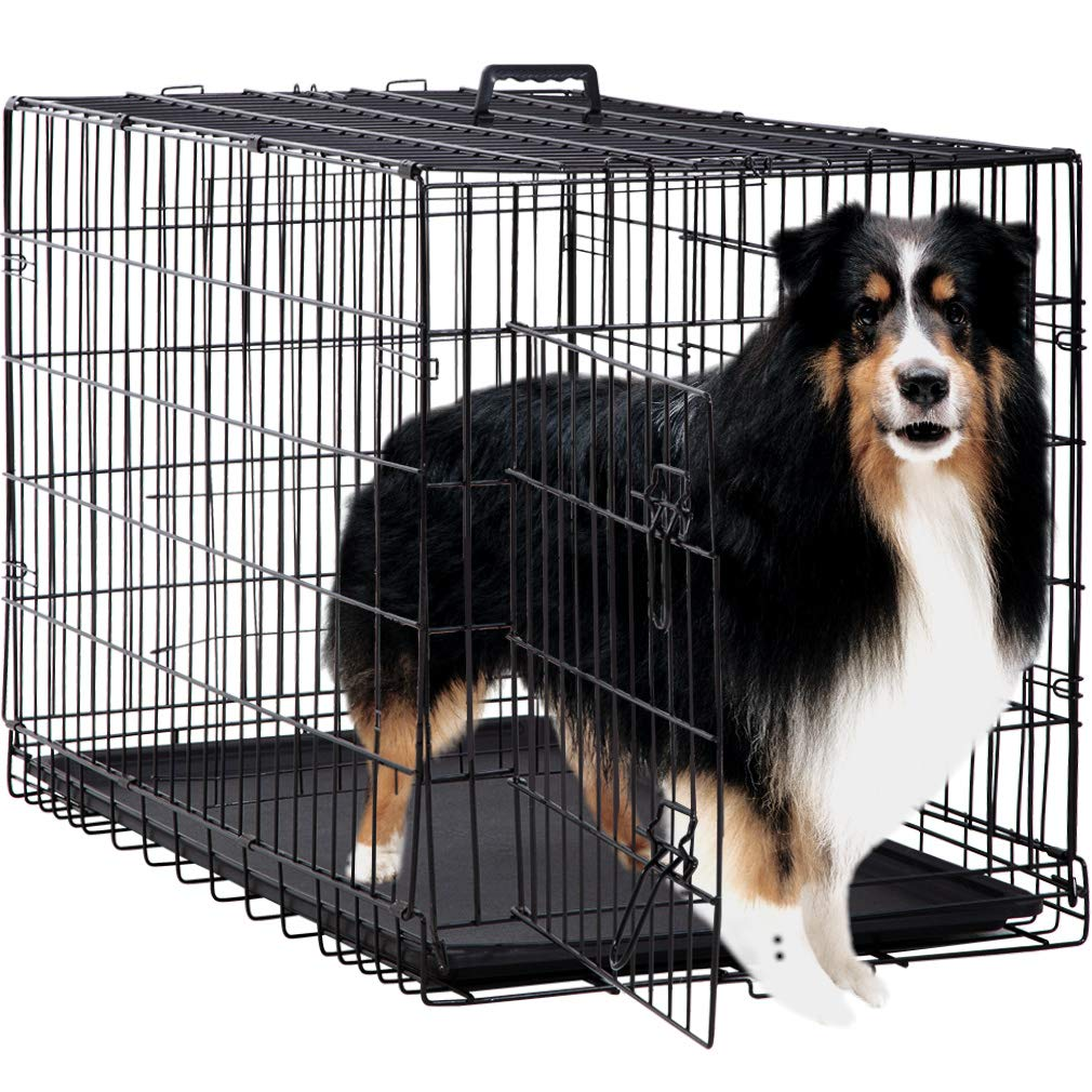 Dog Crate Dog Cage Pet Crate 48'' Folding Metal Pet Cage Double Door W/Divider Panel Dog Kennel Leak-Proof Plastic Tray Wire Animal Cage by BestPet