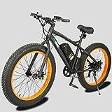 Fat Tire Electric Bike Beach Snow Bicycle 4.0 inch Fat Tire ebike 500W Electric Mountain Bicycle with Shimano 7 Speeds Black/Orange Lithium Battery Electric Mountain Bicycle