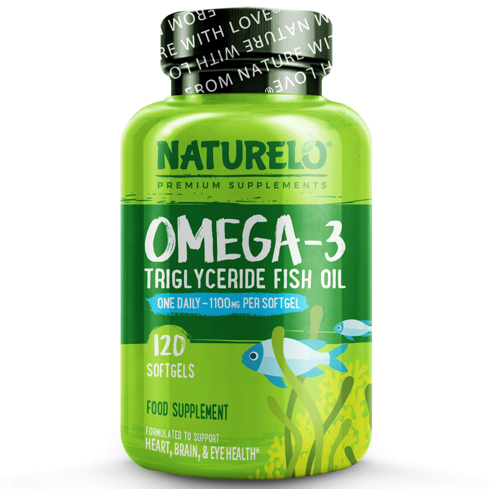 NATURELO Omega-3 Fish Oil - with EPA & DHA - 1100 mg Triglycerides Per Capsule - Best Supplement for Heart, Eye, Brain Health - No Burps - Lemon Flavour - One A Day - 120 Softgels | 4 Month Supply