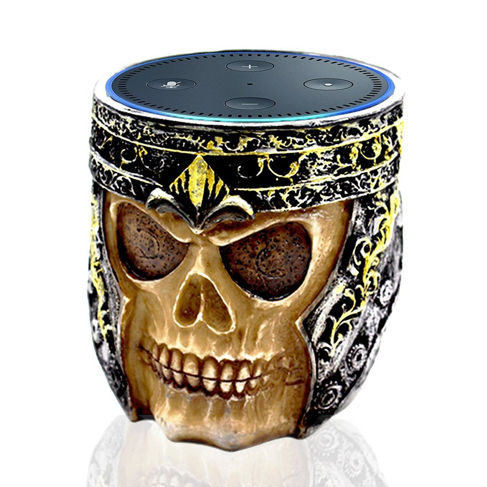 Speaker Stand Mount Case - COOLEAD Skull Statue Crafted Speaker Dot Stand Holder with Non- Slip Base (Only Fits Echo Dot 2nd Generation)