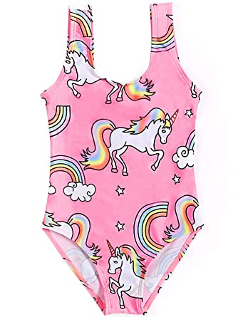 c3de44b752360 Amazon.com: Arielno Girls One Piece Rainbow Unicorn Swimsuit Cherry Ice  Cream Bathing Suits: Clothing