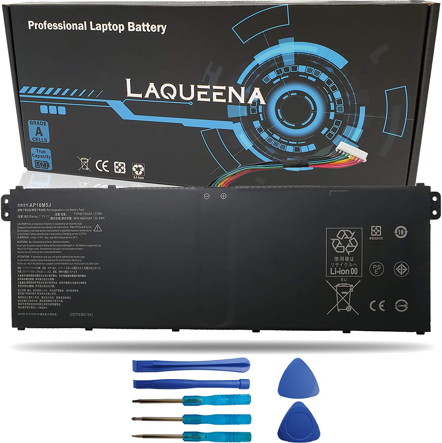 Laqueena AP16M5J Laptop Replacement Battery for Acer Aspire 1 A114-31 A114-31-C4HH A114-31-C5GM 3 A314-31 A315-21 A315-51 5 A515-51 A515-51-75UY ES1-523 Series KT.00205.004 7.7V 37WH 4-Cell