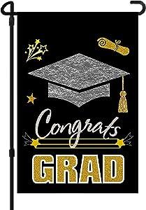 Congrats Grad Flag,Graduation Cap Garden Flag, Double Sided House Flag,Graduation 2021 Decorative Seasonal Flag Decor for Indoor Outdoor Yard Decorations (12.5x18inch)