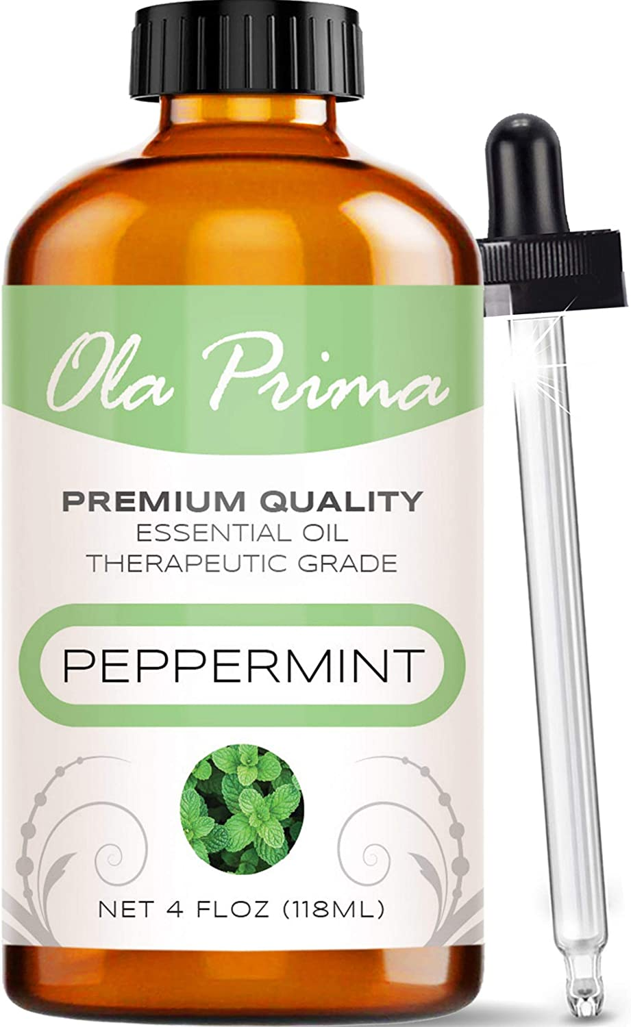 Ola Prima 4oz - Premium Quality Peppermint Essential Oil (4 Ounce Bottle) Therapeutic Grade Peppermint Oil