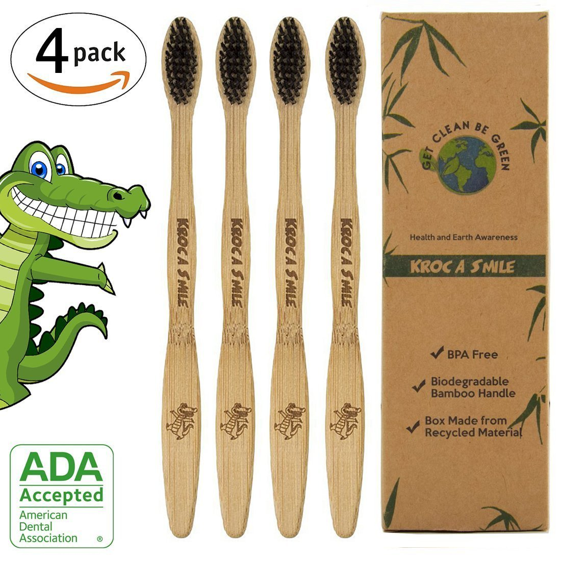 Bamboo Toothbrush,Kroo NV Eco-friendly 100% Organic and Biodegradable Soft BPA Free Bristles for Kids and Adults Humble Toothbrush (White, Pack of 4) 5MY-AC-BRU-N1