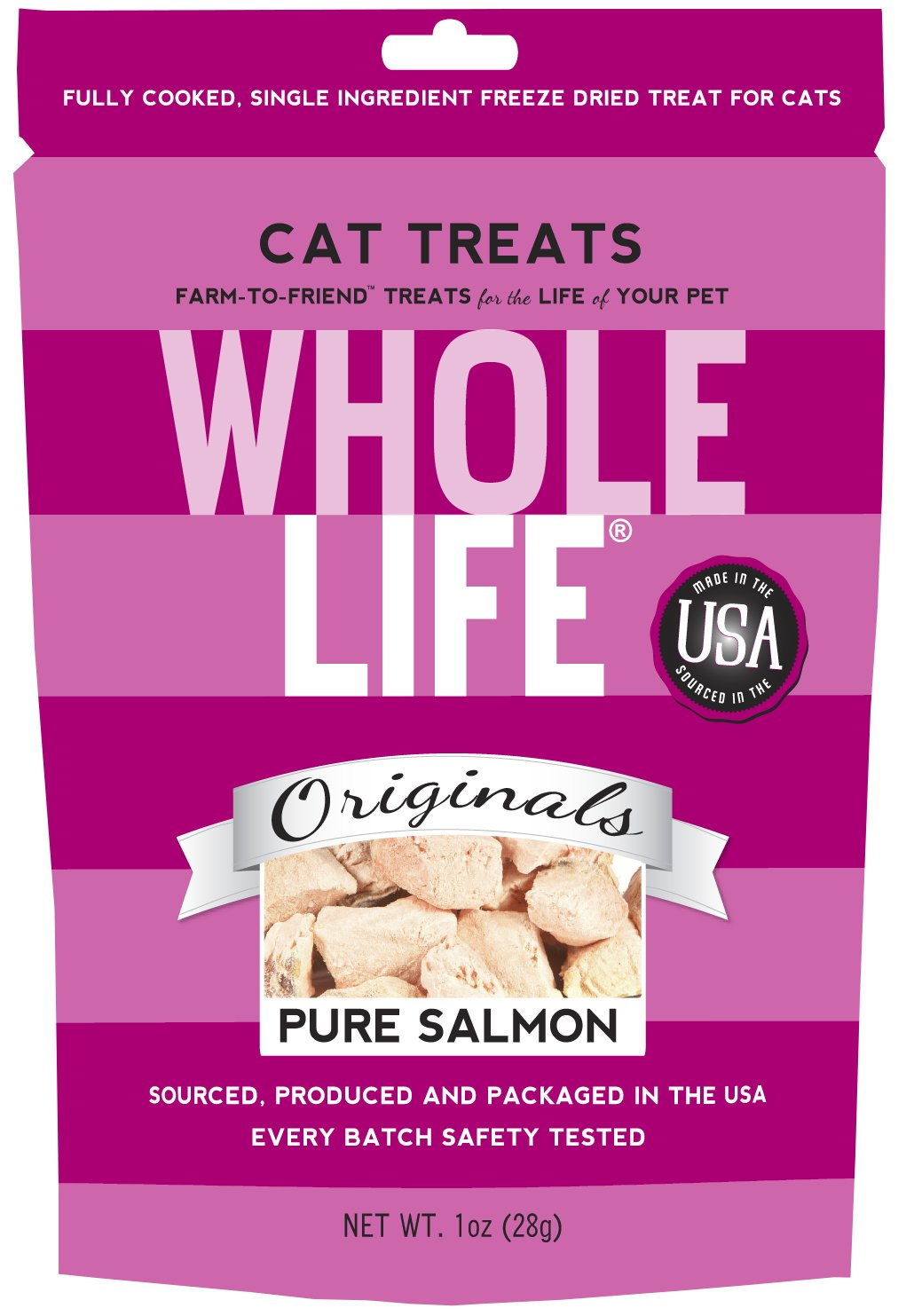 Amazon : Whole Life Pet Single Ingredient Usa Freeze Dried Salmon Filet  Treats For Cats, 1ounce : Freeze Dried Pet Food : Pet Supplies