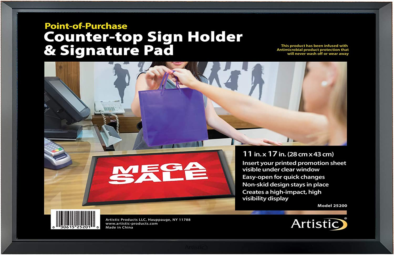 """Artistic Antimicrobial Non-Skid Retail Counter Top Mat, Lift Top Advertising Sign Holder & Signature Pad, 13"""" x 19"""", Black Frame"""