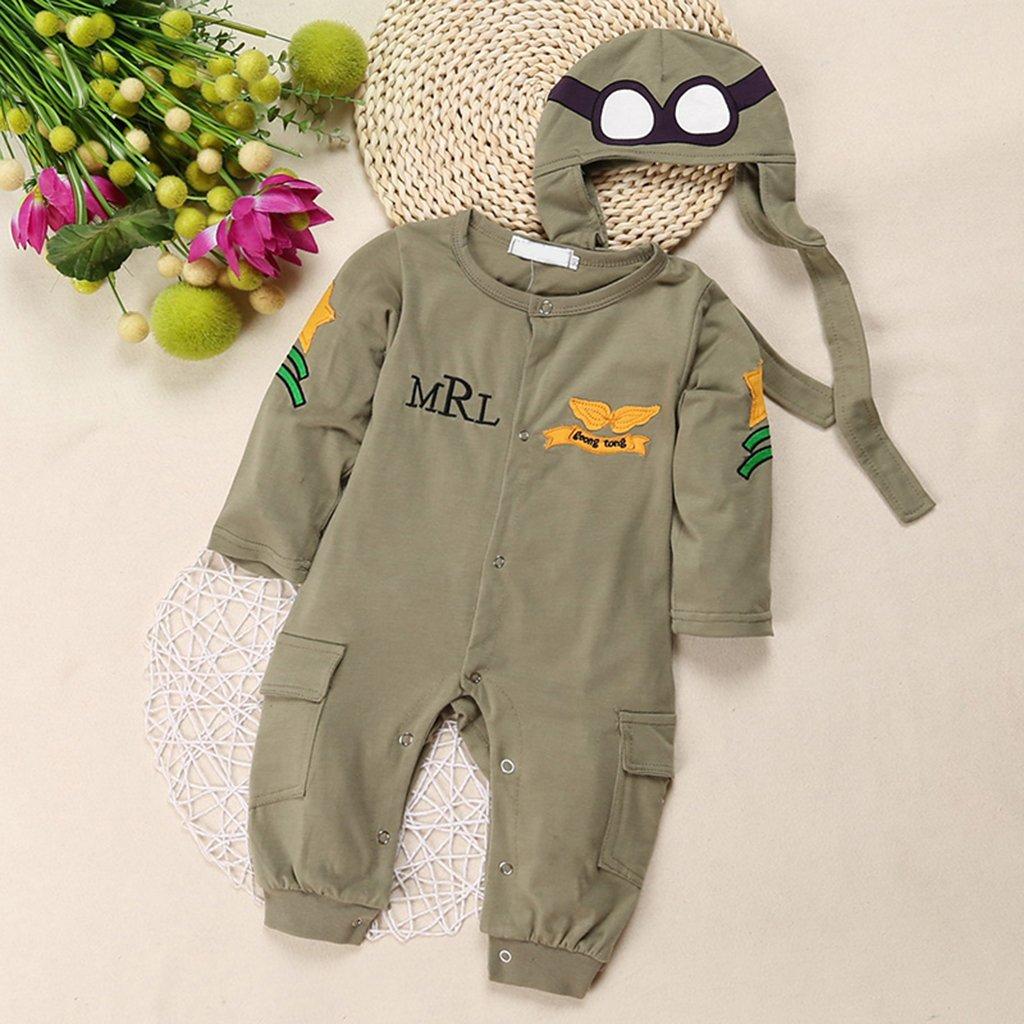 Gr/ün 100 Baby Kleinkind Flugzeug Spielanzug Abendkleid Mit Hut Schutzbrillen Kost/üm Jumpsu