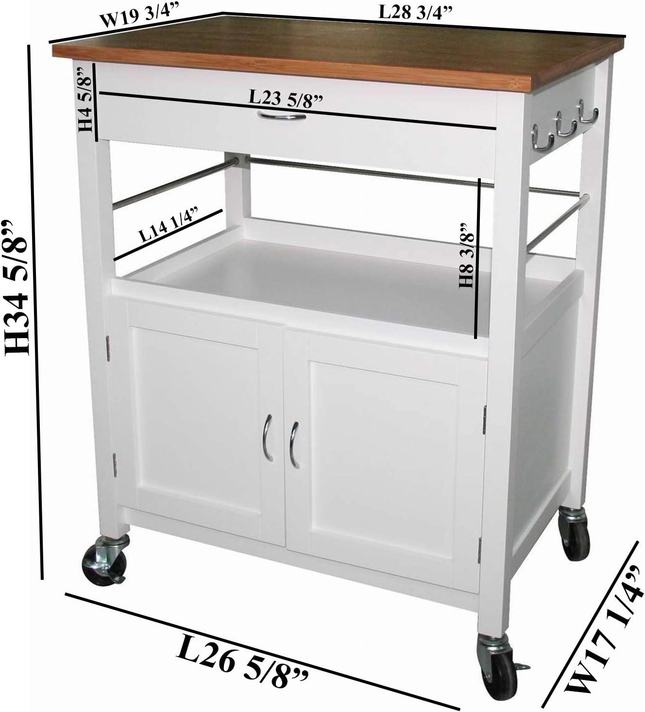 White Kitchen Microwave Cart With Butcher Block Top Locking Casters Kitchen Carts Home Garden