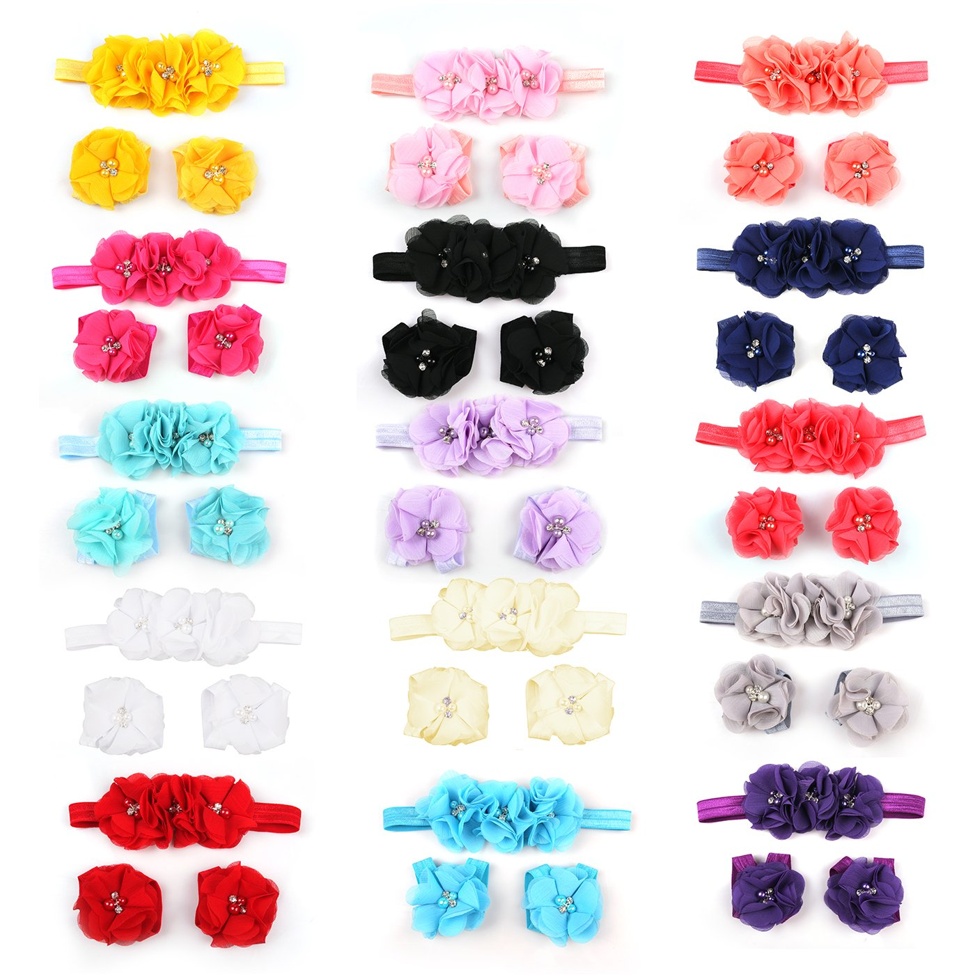 15 Colors Foot Flower Barefoot Sandals Headbands Set For Baby Girls