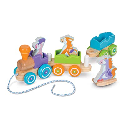 Melissa & Doug Rocking Farm Animals Pull Train: Toys & Games