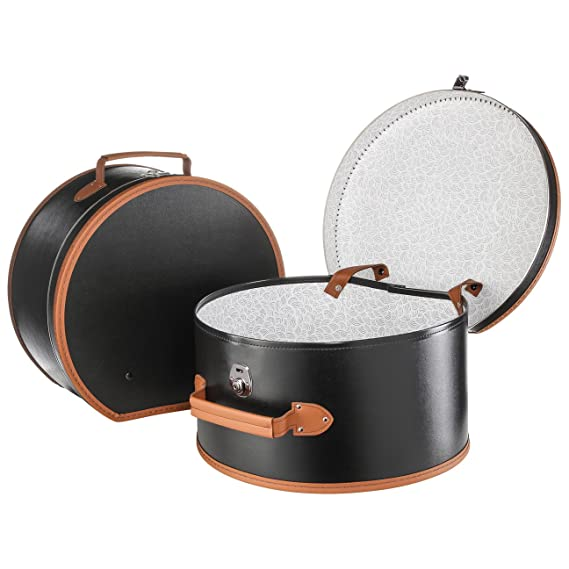 Lierys Large Round Hat Box Black 50 X 22 X 47 Cm Made Of