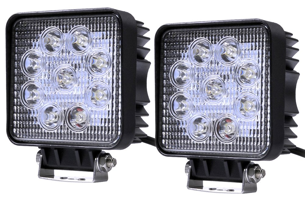 12V 24V R/éflecteur Worklight Noir en Fonte daluminium IP67 Imperm/éable ALPHA DIMA 10pcs 27W LED Offroad Floodlight Spotlight