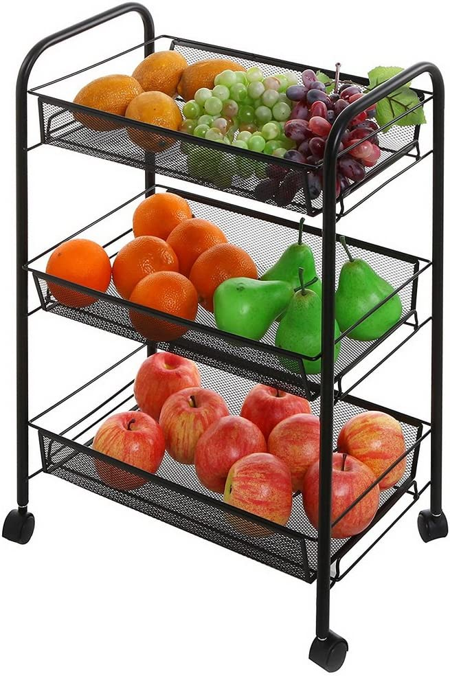 3-Tier Metal Utility Service Cart Rolling Storage Organizer Shelves with Handles, White Storage Utility Art Cart Black