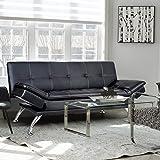 Merax Sofa Bed Convertible Futon with PU Material (Black)