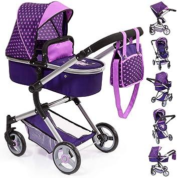 Amazon.es: Bayer Design Cochecito de muñecas Neo Vario con Bolso Cambiador, Convertible, Plegable Color púrpura con corazón y Hada 18476AA: Juguetes y ...