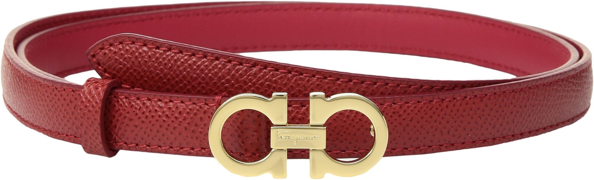 Salvatore Ferragamo Women's Thin Leather Gancini Belt Lipstick 80 (32'' Waist)