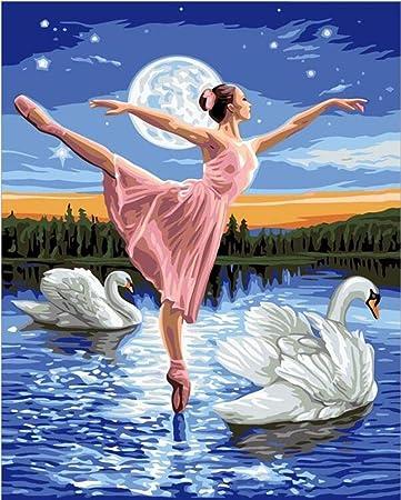 MAGICXYZ Dipingi con i Numeri DIY Pittura Luna del Cigno della Ragazza  della Ballerina Adulti Bambini Tela Stampa Arte della Decorazione della  casa 40x50cm: Amazon.it: Giochi e giocattoli