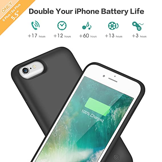 Amazon.com: Feob Battery Case for iPhone 6s Plus/6 Plus, 8500mAh Rechargeable Charger Case Extended Battery Pack for iPhone 6Plus & 6s Plus Charging Case ...