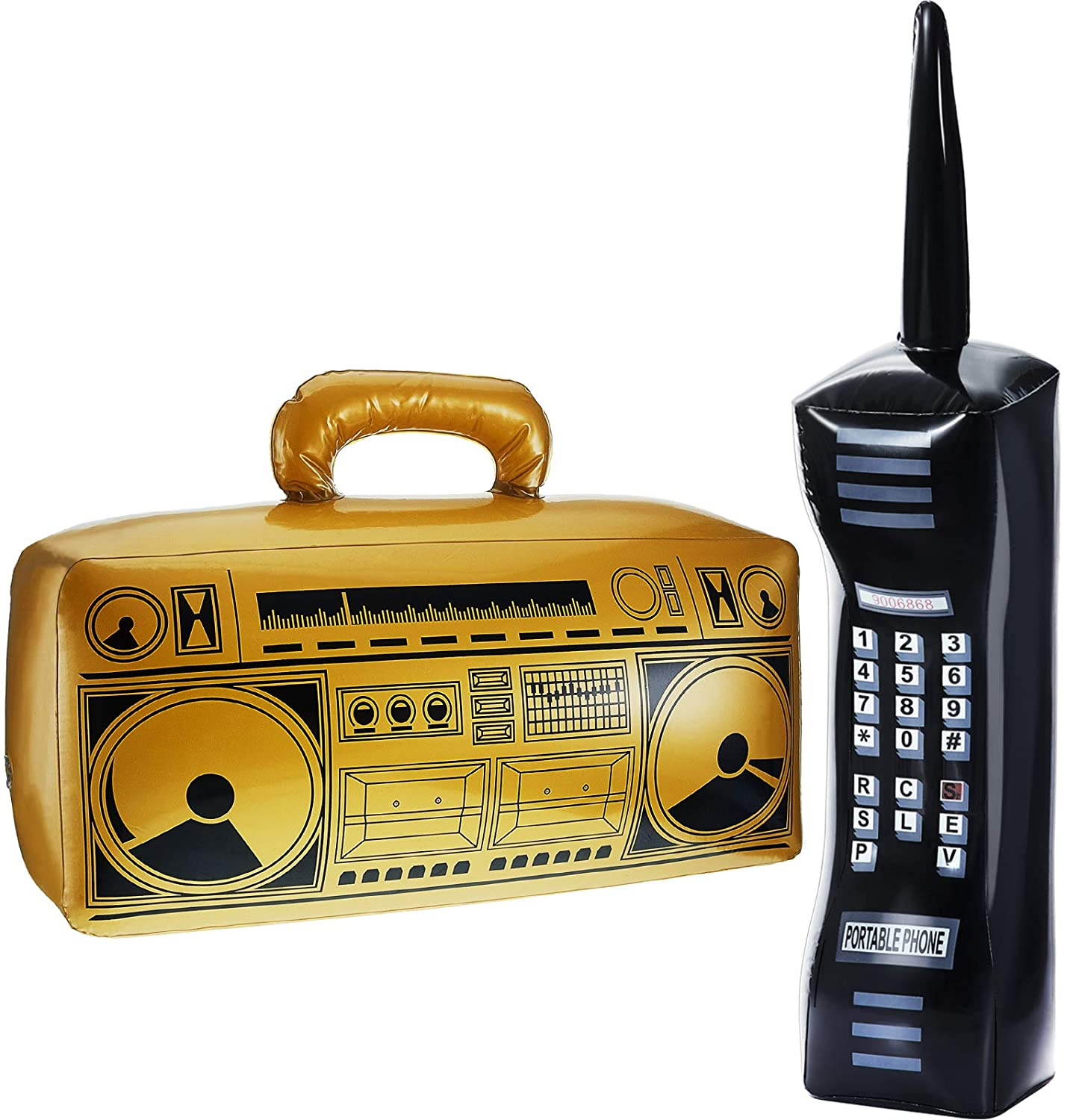 2 Pieces Inflatable Radio Boombox and Inflatable Mobile Phone Box for 80s 90s Party Decorations