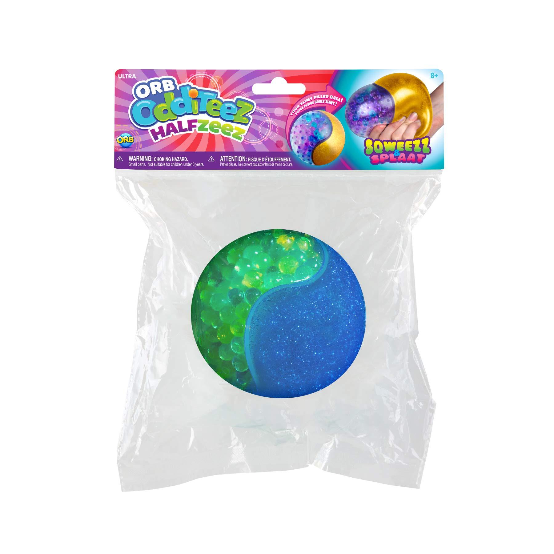 Orb Odditeez Ultra 4 Halfzeez Ball Squishy Slime Ball Half Glitter Slime Half Balzz & HOT New Toy (Blue-Green) by Orb Halfzeez (Image #3)